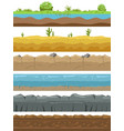 seamless landscape borders ground types endless vector image