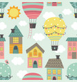 seamless pattern with hot air balloon vector image vector image