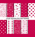 seamless patterns with hearts set of backgrounds vector image vector image