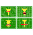 set of four football fields with golden cup vector image