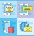 set smartphone technology media icon vector image vector image