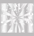 silver musical notes background vector image vector image