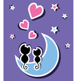 two cats in love sitting on the moon vector image vector image
