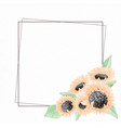 watercolor yellow sunflower bouquet wreath frame vector image vector image