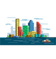 waterfront city skyline vector image vector image