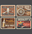 wild west sheriff guns star western bull skulls vector image