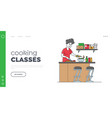 woman cooking vegetable salad landing page vector image