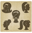 women hairstyles old background vector image vector image