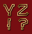 y z gold angular letters exclamation