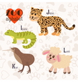 Zoo alphabet with funny animals I j k l letters vector image vector image