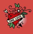 heart one love tattoo vector image