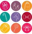 Happy birthday elements colorful icon set vector image