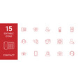 15 contact icons vector image vector image