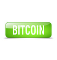 bitcoin green square 3d realistic isolated web vector image vector image