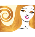 Blond girl with yellow eyes vector image