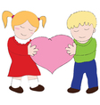 Boy and Girl carry the heart cartoons vector image