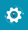 business person running inside wheel concept vector image vector image