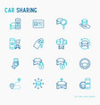 car sharing thin line icons set vector image