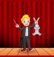 cartoon magician holding a magic wand and a rabbit vector image