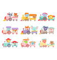 cheerful african and forest animals riding on toy vector image vector image