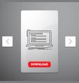 code coding computer monoblock laptop line icon vector image
