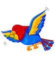 Colorful bird flying with worm in mouth vector image vector image