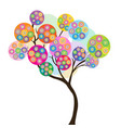 colorful tree with circles dotted flowers vector image vector image