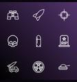 combat icons line style set with skull binoculars vector image
