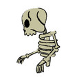 comic skeleton human walk character vector image vector image
