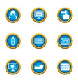 crack icons set flat style vector image vector image