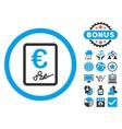 Euro Contract Flat Icon with Bonus vector image