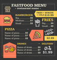 fastfood menu for restaurant or cafe poster vector image
