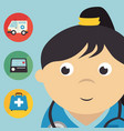 female doctor with medical healthcare icons vector image