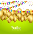 festive card golden balloons and confetti vector image