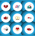 flat icon heart set of key divorce soul and vector image vector image