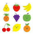 fruit berry icon set pear strawberry banana vector image