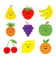 fruit berry icon set pear strawberry banana vector image