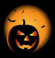 ghostly halloween poster with grinning pumpkin vector image vector image