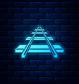 glowing neon railroad icon isolated on brick wall vector image vector image