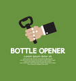 Hand Holding A Bottle Opener vector image vector image