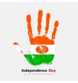 Handprint with the Flag of Niger in grunge style vector image vector image