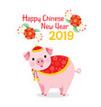 happy chinese new year 2019 texts with pig vector image