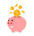 happy cute funny smiling piggy bank vector image vector image