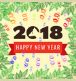 happy new year 2018 greeting card year of the dog vector image