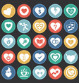heart icon set on color circles black background vector image