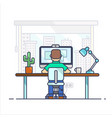 home office workplace desk flat modern male vector image