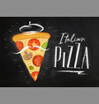 italian pizza slice chalk vector image