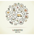 Logistic hand drawing hatch icons doodle vector image