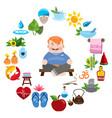 man meditates round composition spa yoga studio vector image vector image
