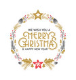 merry christmas rustic doodle greeting vector image